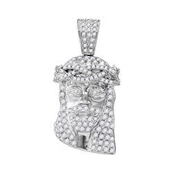 3/4 CTW Mens Round Diamond Jesus Face Charm Pendant 10kt White Gold - REF-53X3T
