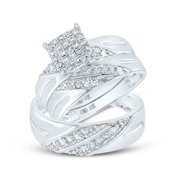 5/8 CTW His Hers Round Diamond Square Matching Wedding Set 10kt White Gold - REF-68N2A