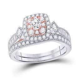 1 CTW Round Diamond Bridal Wedding Ring 10kt Two-tone Gold - REF-85X3T
