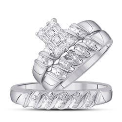 1/10 CTW His Hers Round Diamond Cluster Matching Wedding Set 10kt White Gold - REF-37R5X
