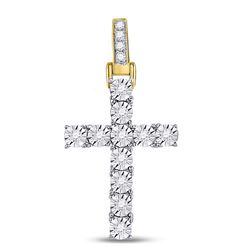 1/8 CTW Mens Round Diamond Cross Charm Pendant 10kt Yellow Gold - REF-27F3W