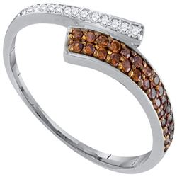 1/4 CTW Womens Round Brown Diamond Bypass Band Ring 10kt White Gold - REF-16N4A