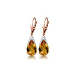 Genuine 10 ctw Citrine Earrings 14KT Rose Gold - REF-55H5X