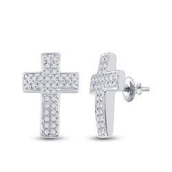 1/5 CTW Womens Round Diamond Cross Earrings 10kt White Gold - REF-16M4F