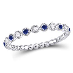 1/6 CTW Womens Round Blue Sapphire Diamond Beaded Dot Stackable Band Ring 10kt White Gold - REF-17N6