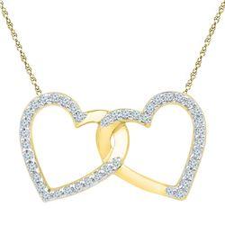 1/6 CTW Womens Round Diamond Double Linked Heart Pendant 10kt Yellow Gold - REF-13M5F