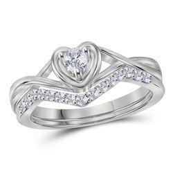 1/4 CTW Round Diamond Bridal Wedding Ring Band Set 10kt White Gold - REF-37M5F