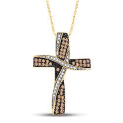 1/2 CTW Womens Round Brown Diamond Bound Cross Pendant 14kt Yellow Gold - REF-40F8W