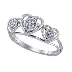 0.03 CTW Womens Round Diamond Triple Heart Cluster Ring 10kt White Gold - REF-11X6T