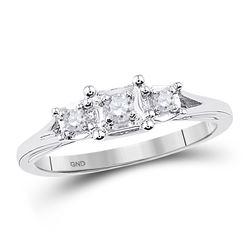 1/10 CTW Round Diamond 3-stone Bridal Wedding Engagement Ring 10kt White Gold - REF-22R5X