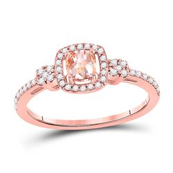 5/8 CTW Womens Cushion Morganite Diamond Halo Ring 10kt Rose Gold - REF-27Y3N