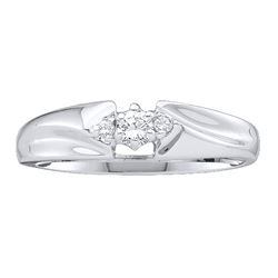 1/10 CTW Womens Round Diamond 3-stone Promise Ring 10kt White Gold - REF-18N5A