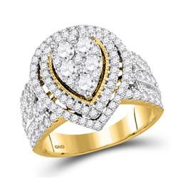 2 CTW Round Diamond Teardrop Bridal Wedding Engagement Ring 14kt Yellow Gold - REF-208Y3N