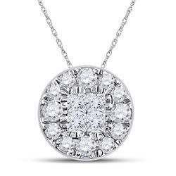 1/4 CTW Womens Princess Diamond Fashion Cluster Pendant 14kt White Gold - REF-20Y5N
