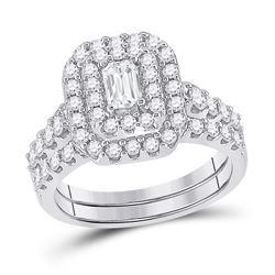 1 & 1/2 CTW Emerald Diamond Bridal Wedding Ring 14kt White Gold - REF-180X7T