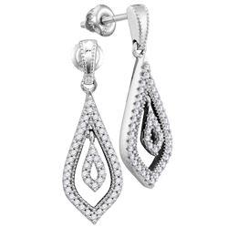 1/4 CTW Womens Round Diamond Teardrop Dangle Earrings 10kt White Gold - REF-27H3R