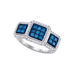1 CTW Womens Round Blue Color Enhanced Diamond Triple Square Cluster Ring 10kt White Gold - REF-49X6