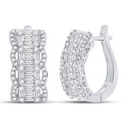1 & 5/8 CTW Womens Baguette Diamond Fashion Hoop Earrings 14kt White Gold - REF-190X8T