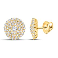1 CTW Womens Round Diamond Cluster Earrings 14kt Yellow Gold - REF-78F5W
