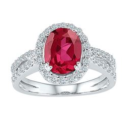2 CTW Womens Oval Lab-Created Ruby Solitaire Ring 10kt White Gold - REF-47H6R