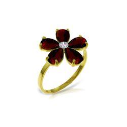 Genuine 2.22 ctw Garnet & Diamond Ring 14KT Yellow Gold - REF-35P9H