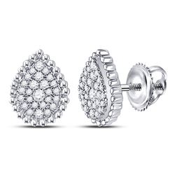 1/4 CTW Womens Round Diamond Teardrop Earrings 10kt White Gold - REF-24R5X