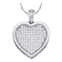 1/20 CTW Womens Round Diamond Cluster Small Heart Pendant 10kt White Gold - REF-5X5T