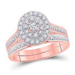 1/2 CTW Round Diamond Oval Bridal Wedding Ring 10kt Rose Gold - REF-54V5Y