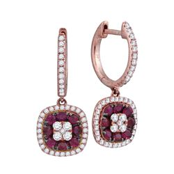 1 CTW Womens Round Ruby Cushion Dangle Earrings 18kt Rose Gold - REF-122X6T