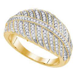 3/8 CTW Womens Round Diamond Milgrain Striped Band Ring 10kt Yellow Gold - REF-36V2Y