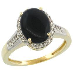 2.60 CTW Onyx & Diamond Ring 10K Yellow Gold - REF-44R7H