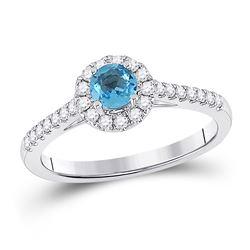 5/8 CTW Womens Round Blue Topaz Diamond Solitaire Ring 14kt White Gold - REF-50Y5N