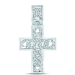 5/8 CTW Mens Round Diamond Curb Link Cross Charm Pendant 10kt White Gold - REF-51Y8N