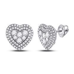 1 CTW Womens Round Diamond Heart Earrings 14kt White Gold - REF-88N5A