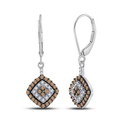 1/2 CTW Womens Round Brown Diamond Square Dangle Earrings 10kt White Gold - REF-28R5X