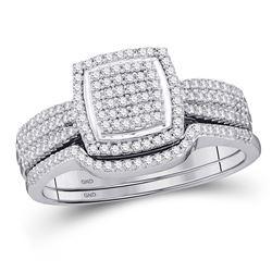 1/2 CTW Round Diamond Square Bridal Wedding Ring Band Set 10kt White Gold - REF-54N5A