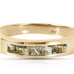 Genuine 0.60 ctw Green Sapphire Ring 14KT Yellow Gold - REF-49N2R