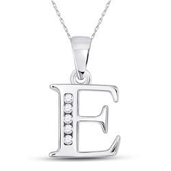1/20 CTW Womens Round Diamond E Initial Letter Pendant 10kt White Gold - REF-8R3X