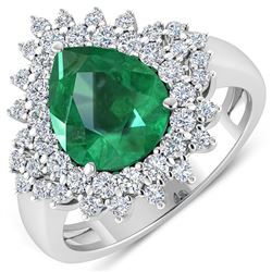 Natural 3.74 CTW Zambian Emerald & Diamond Ring 14K White Gold - REF-168T6H