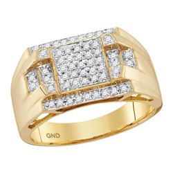 1/3 CTW Mens Round Diamond Square Cluster Ring 10kt Yellow Gold - REF-54F5W