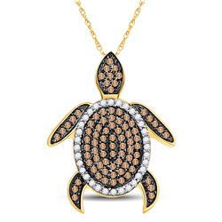 3/8 CTW Womens Round Brown Diamond Sea Turtle Animal Pendant 10kt Yellow Gold - REF-21N8A