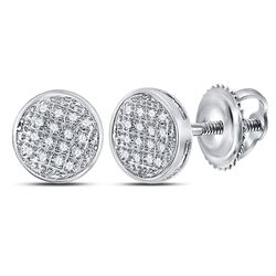 1/12 CTW Mens Round Diamond Circle Cluster Stud Earrings 10kt White Gold - REF-13W2H