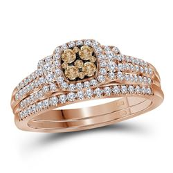 1/2 CTW Womens Round Brown Diamond Bridal Wedding Ring 14kt Rose Gold - REF-74V9Y