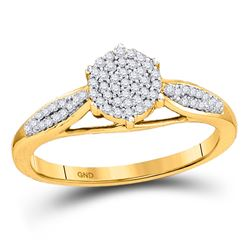 1/5 CTW Womens Round Diamond Cluster Ring 10kt Yellow Gold - REF-20A5M