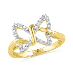 1/6 CTW Diamond Womens Butterfly Bug Daily-wear Right-hand Ring 10k Yellow Gold - REF-18W5H