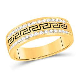 1/2 CTW Mens Round Diamond Wedding Grecco Band Ring 14kt Yellow Gold - REF-95F5W