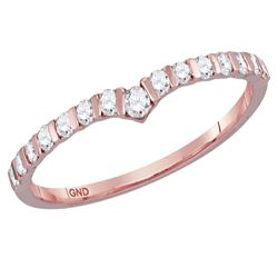 1/4 CTW Womens Round Diamond Chevron Stackable Band Ring 14kt Rose Gold - REF-26M5F