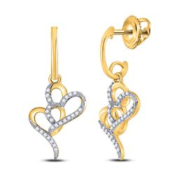 1/6 CTW Womens Round Diamond Heart Dangle Earrings 10kt Yellow Gold - REF-16H4R