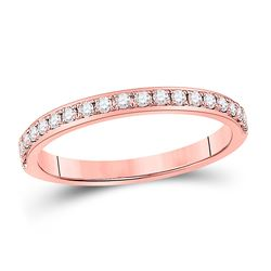 1/6 CTW Womens Round Diamond Wedding Single Row Band Ring 14kt Rose Gold - REF-20N5A