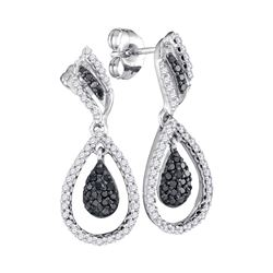 1/2 CTW Womens Round Black Color Enhanced Diamond Dangle Earrings 10kt White Gold - REF-34N3A